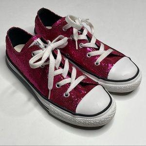 Converse Chuck Taylor Low Glitter Shoe Raspberry